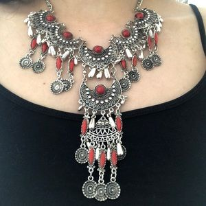 Jewelry - Red afghan boho necklace